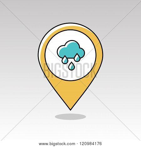 Rain Cloud Rainfall Pin Map Icon. Weather