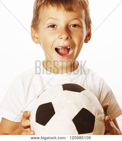 little cute boy playing football ball isolated on white close up catching moove