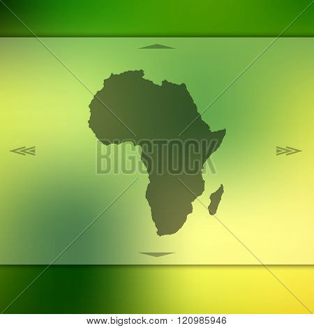 Blurred background with silhouette of Africa