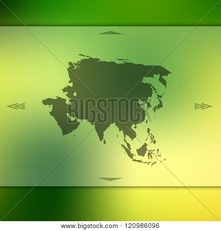 Asia map on blurred background