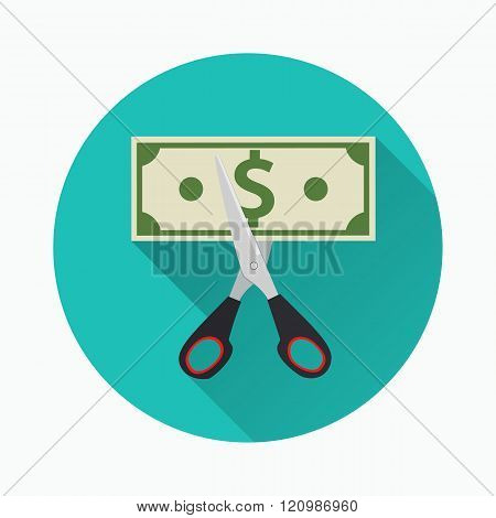 Scissors cutting money bill.