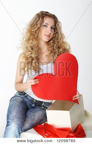 Blond Girl With Big Valentine Card