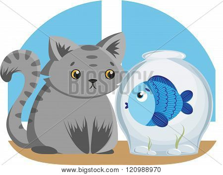 Gray Cat and Blue Fish
