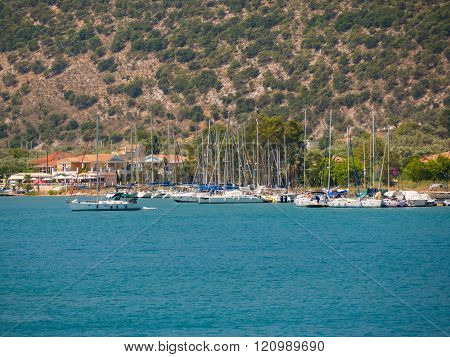 Sail Boats In A Greek Island