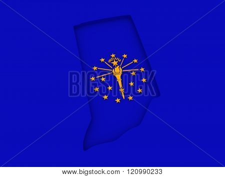 Indiana state map and flag concept