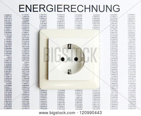 socket with electricity bill symbolizes high energy bill
