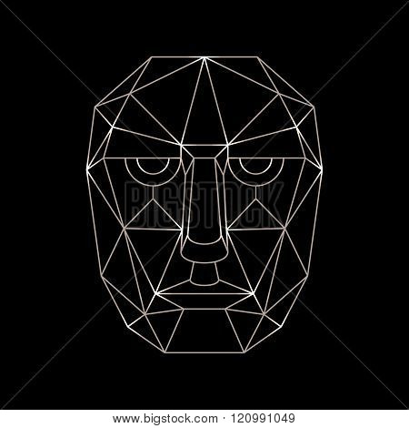 Vector human face of the lines in a simplified style