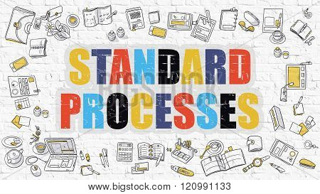 Standard Processes Concept with Doodle Design Icons.