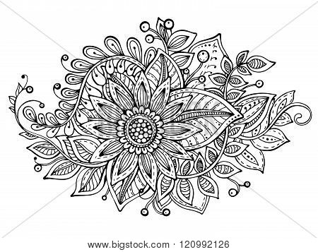 Vector Illustration With Hand Drawn Doodle Fancy Flowers Bouquet