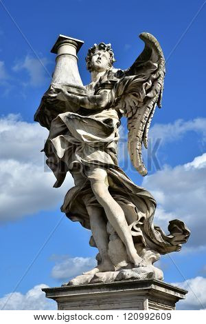Angel With Column Look At The Heaven, From Sant'angelo Bridge In