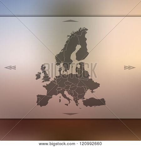 Europe map on blurred background