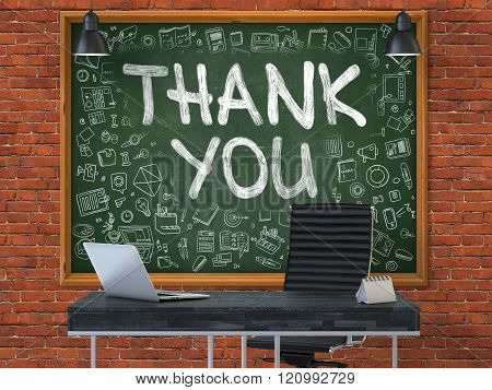 Hand Drawn Thank You on Office Chalkboard.