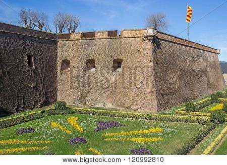 Castle Montjuic On A Hill In Barcelona
