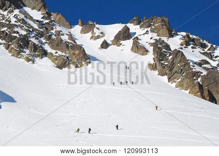 Ski tourism. Climbing in the mountains skiers