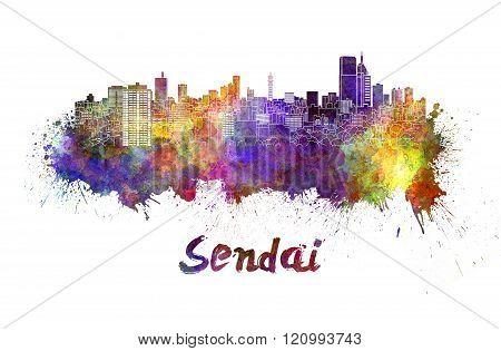 Sendai Skyline In Watercolor