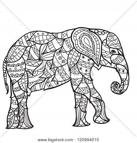 elephant Black and white doodle print with ethnic patterns.