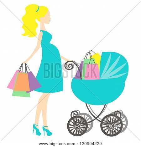 Vector Of Modern Pregnant Mommy With Turquoise Blue Vintage  Baby Carriage, The Woman Does The Shopp