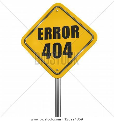 Error 404 road sign. Image with clipping path