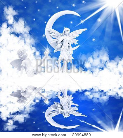 an angel is in a blue sky with sun and clouds in the lake