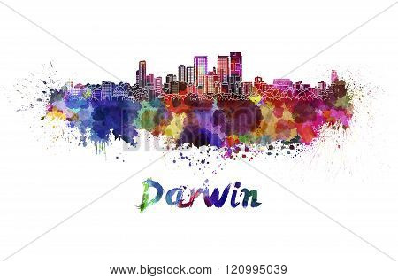 Darwin Skyline In Watercolor