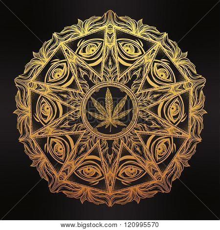 Vector cannabis trip eye mandala symbol.
