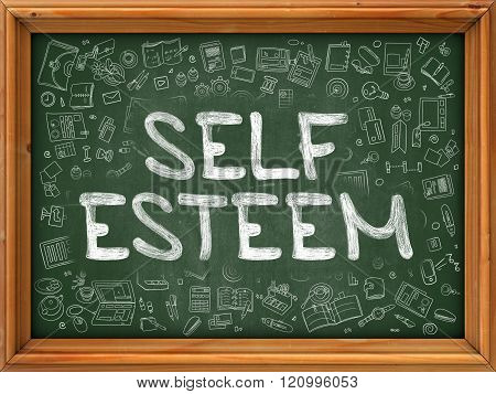 Self Esteem - Hand Drawn on Green Chalkboard.