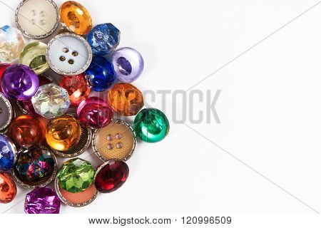 Decorative colorful vintage sewing button or scrapbook buttons on white background.