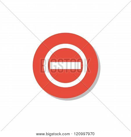No Entry Icon, On White Background, Red Circle Border, White Outline