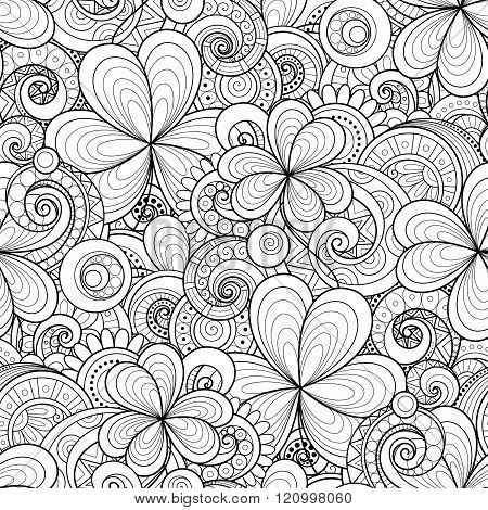 Vector Seamless Monochrome Floral Pattern With Decorative Clover And Coins