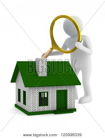 Search new house. Isolated 3D image on white