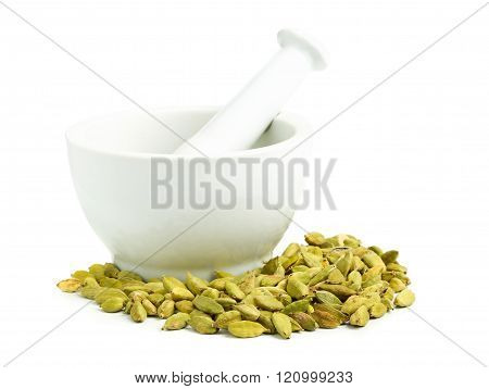 Cardamom Seed Pods With Mortar