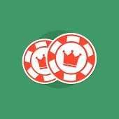 Постер, плакат: Poker chips Poker chips concept Poker vector illustration Poker chips isolated Poker sign on gre