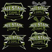 Set Of Vintage Sports All Star Crests With Lacrosse Theme poster
