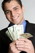 picture of spanish money  - Businessman Holding Money - JPG
