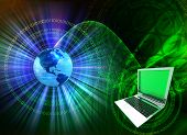 stock photo of computer technology  - abstract composition with binary data leaks laptop and earth globe - JPG