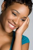stock photo of young black woman  - Beautiful Smiling Black Woman - JPG