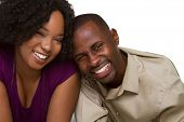 stock photo of young black woman  - Smiling Black Couple - JPG