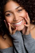 stock photo of black curly hair  - Young Black Woman - JPG