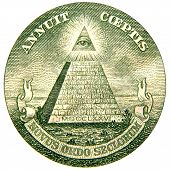 stock photo of freemason  - the eye and pyramid on the reverse side of the great seal from the united states of america one dollar bill - JPG