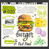 Постер, плакат: Food sketchbook with burger food and cooking recipe