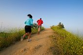 image of san fernando valley  - two people running on the hill outdoors - JPG