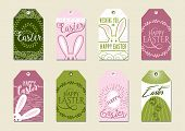 Set Of Happy Easter Gift Tags. For Presents And Gifts poster