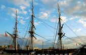 stock photo of uss constitution  - the oldest commissioned ship in the navy stands guard at boston harbor - JPG