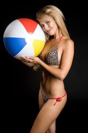 picture of beach-ball  - Sexy Bikini Girl Holding Beach Ball - JPG