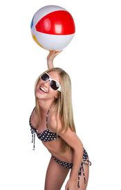 picture of beach-ball  - Fun Summer Girl - JPG