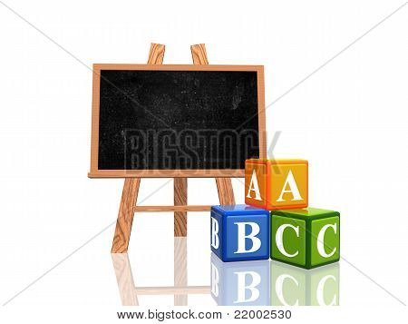 Blackboard With Abc Cubes