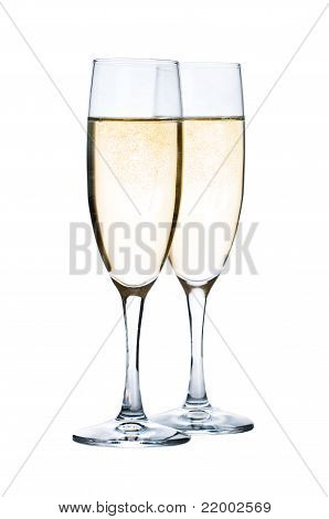 Glasses with Champagne isolated on white background