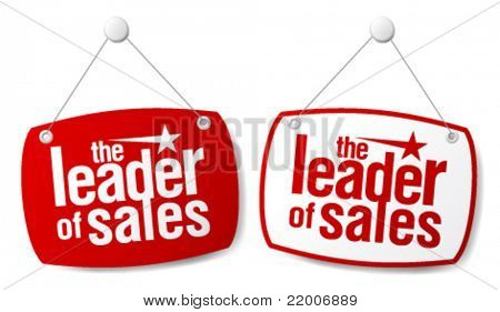 The leader of sales signs set.