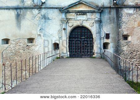 Evening Svirzh Castle Entrance Gate  View (ukraine).