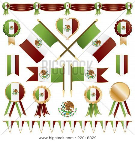Mexican Flags And Rosettes